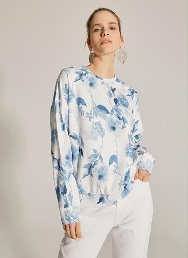 NGSTYLE Çiçek Desenli Dalgıç Kumaş Sweatshirt Mavi